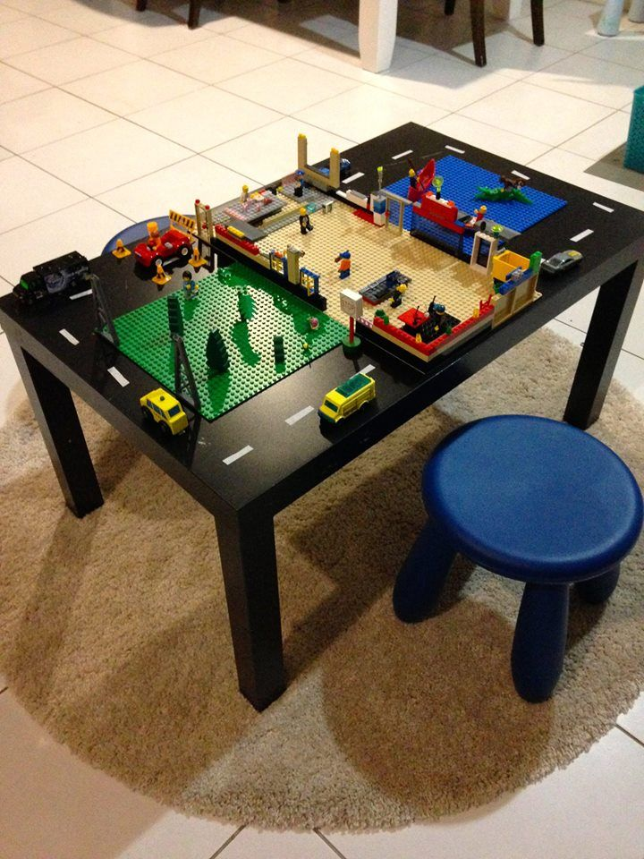 Converting an unused side table into a lego play table.