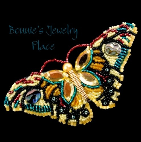 Bead Embroidery Butterfly Brooch