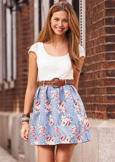 Teenage Girl Modest Christian Clothing | Delia's Short-Sleeve Crochet Floral Dress so cute! More