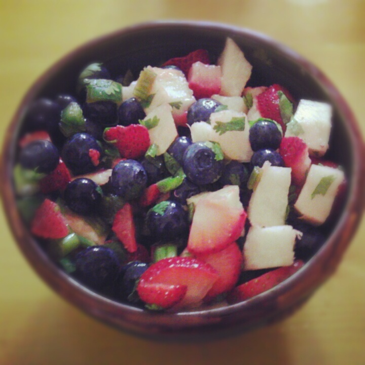made this Blueberry, Strawberry, & Jicama Salsa for the 4th. It's ...