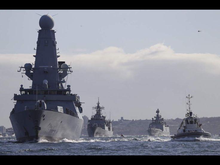 International Fleet Review Sydney Harbour. International Warships enter Sydney Harbour October 2013.