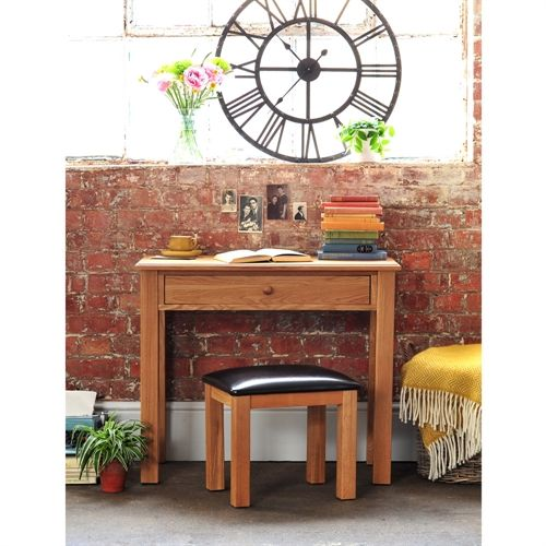 Appleby Oak Small Dressing set with PU Stool with Free Delivery from The Cotswold Company. Oak Furniture, Oak Dressing Table, Country Dressing Table, Country Interiors, Yellow Throw, Industrial Clock.