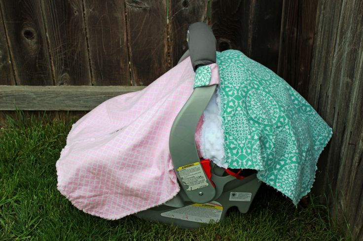 Soft and Sweet Pink, White and Mint Rag Car Seat Canopy! Perfect for any little girl!! by BabyBazerk on Etsy