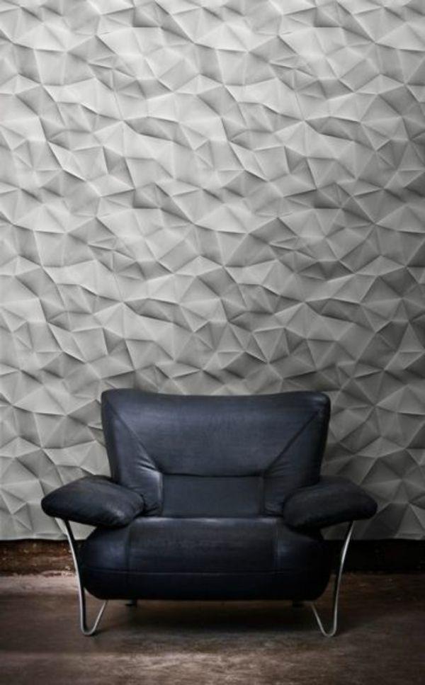 wanddeko wohnideen wandfarben toll gestalten grau origami stil