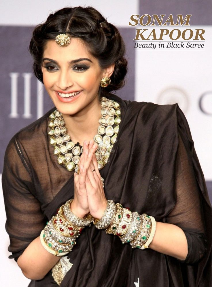 Indian Beauty in Black Saree  Sonam Kapoor is an Indian actress who performs in Bollywood films. She is the daughter of actor Anil Kapoor (who always looks Young). Sonam Kapoor is Bollywood Fashion Queen.  Explore more Ethnic designer saree @ www.madeinmyindia.com Made with love in #India  Share it, if You Like it.  #madeinmyindia #made #with #love #india #ethnic #Wear #fashion #clothing #unique #handcrafted #Suits #kurtis #lehenga #sarees #Bridal #partywear #embroided #wedding  #design