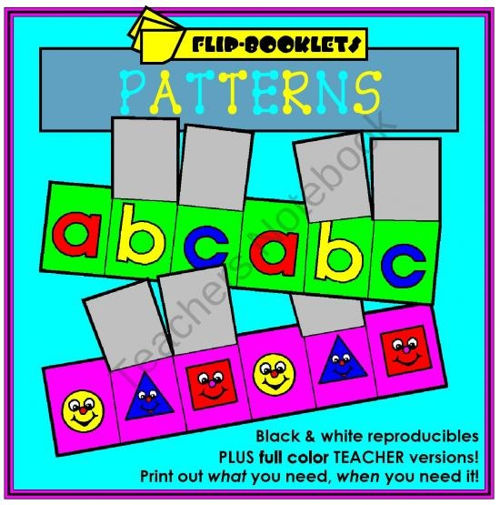 Patterns Flip Booklets from Mister Kindergarten on TeachersNotebook.com (30 pages)  - Teach the students how to make all kinds of patterns: AB, ABC, AABB, AAB, etc.... the possiblilities are endless.