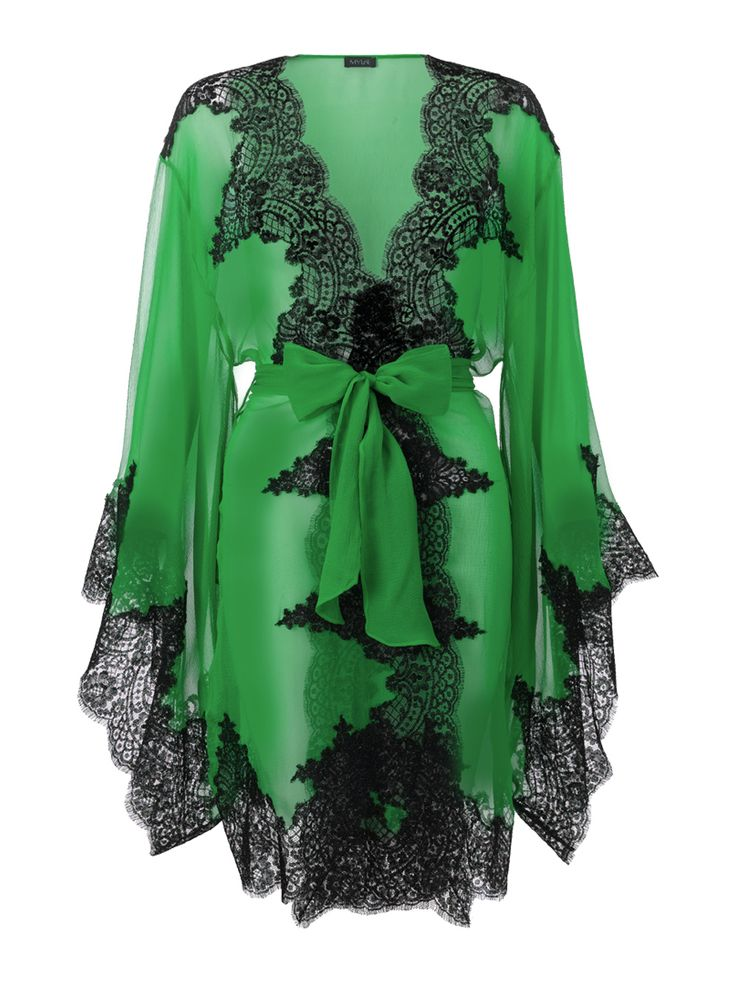 Elsa Short Kimono by Myla in Gazon Green/Black. Would love this in a different color