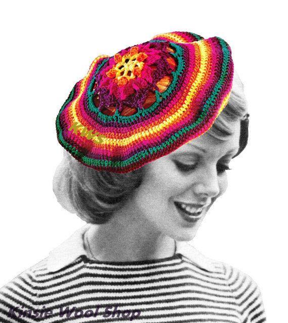 Crochet Hat Pattern Beret : Vintage 70s Crochet