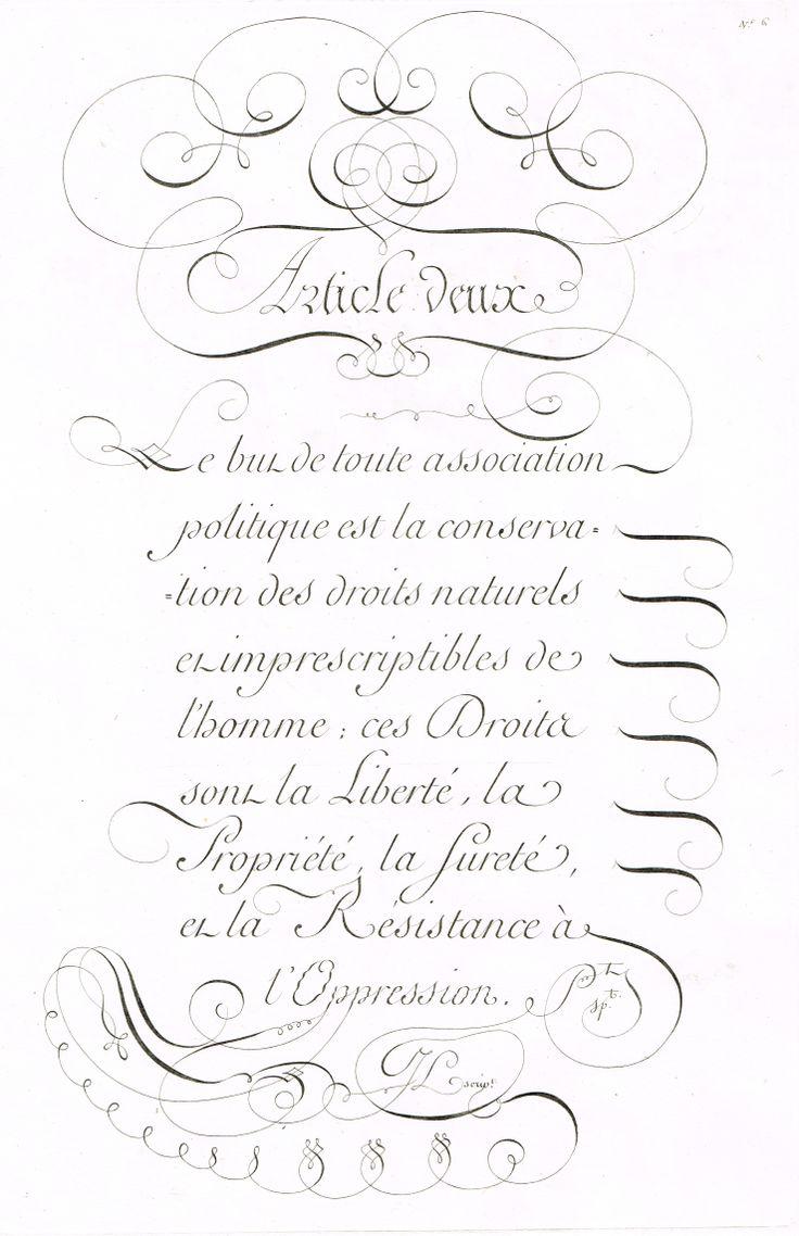 Article 2 : les Droits sont la Liberté, la Propriété, la Sureté et la Résistance à l'Oppression. MAS Estampes Anciennes - Antique Prints