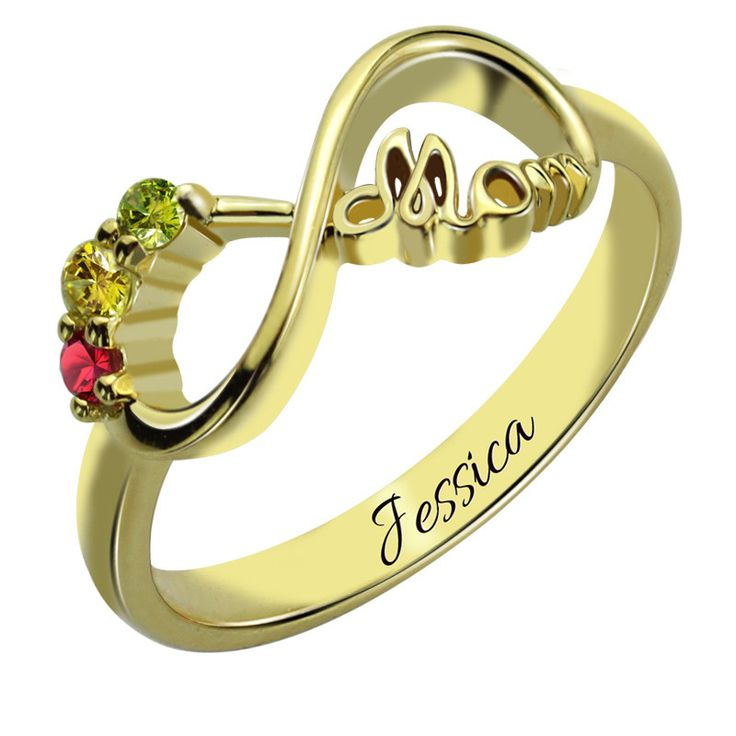 Three Stone Infinity Mothers Gold Ring