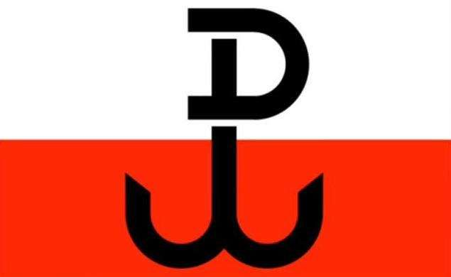 """The 'so-called """"anchor"""", a symbol composed of the letters P and W (Polska Walczaca), most commonly translated as """"Fighting Poland"""" or """"Poland Fights"""". The emblem was clandestinely daubed on walls during the Nazi occupation, and it became one of the most potent symbols of the Home Army (AK), the official underground force that was loyal to the Polish government-in-exile in London.' (Polskie Radio)"""