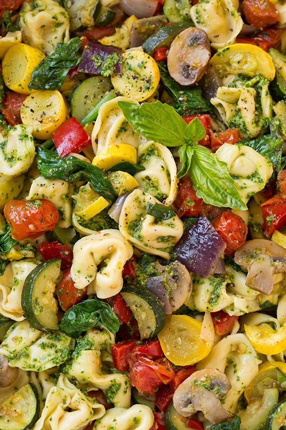 Tortellini with Pesto and Roasted Veggies.  Three of my favorite things collide here to make one incredible entree you'll want to make again and again!