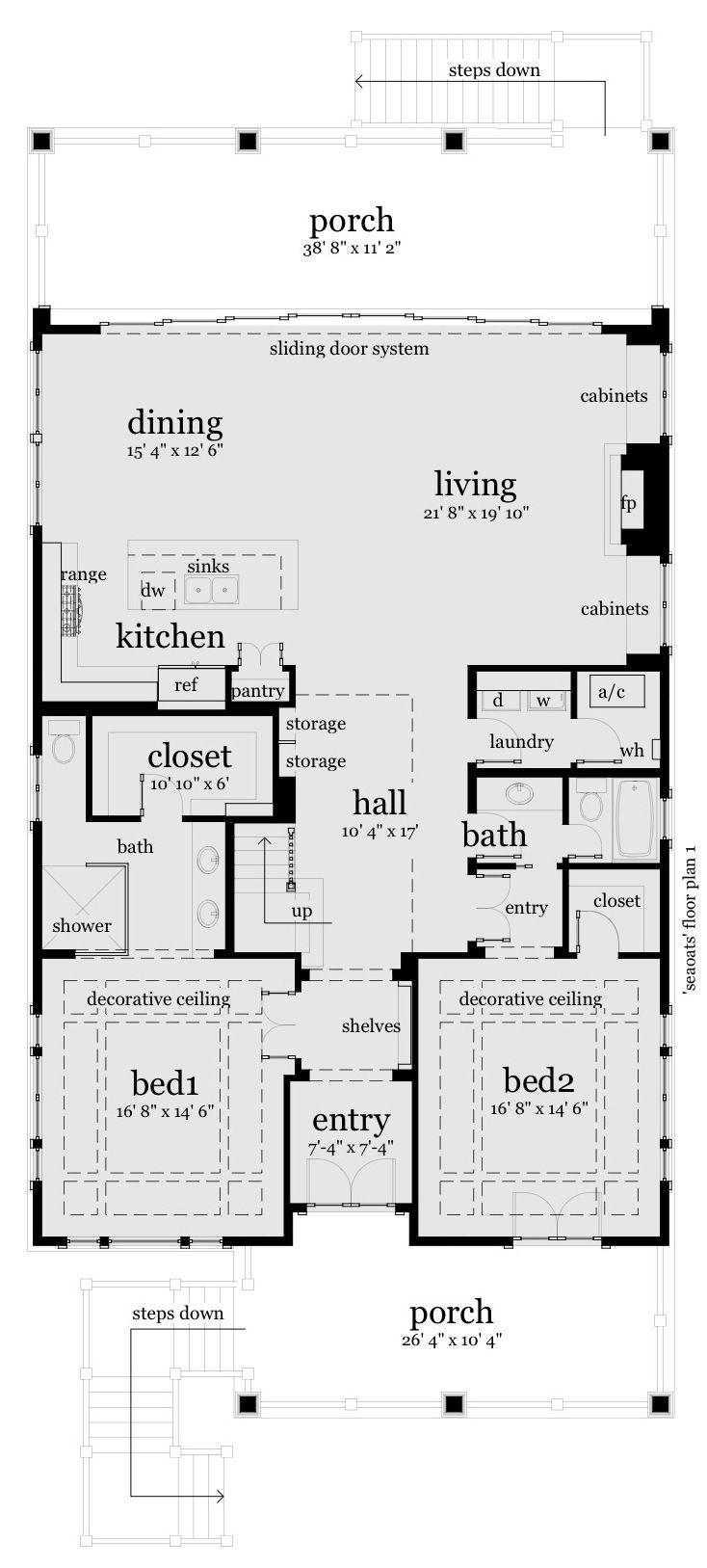 Beach style house plan 3 beds 3 baths 2621 sqft plan 64