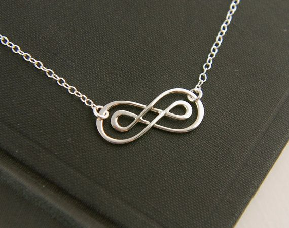 Double infinity necklace in sterling silver, sterling silver necklace, infinity symbol, eternity necklace, friendship necklace, knot on Etsy, $24.00