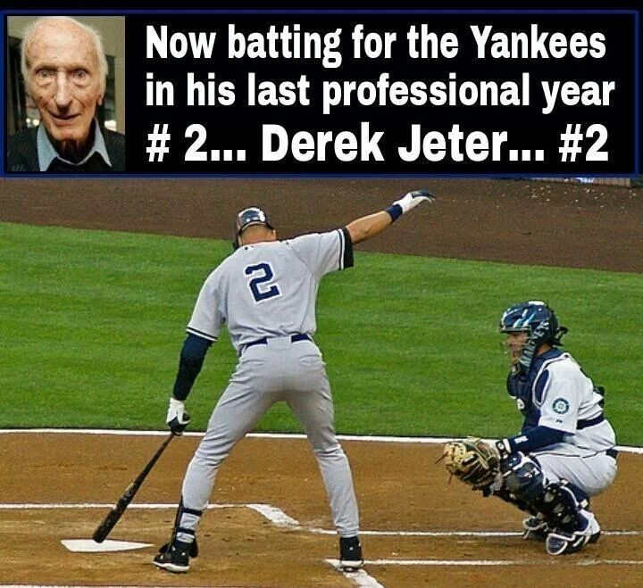 DEREK JETER #2.....I love hearing that gentleman say that for Jeter every time he's up....#2...Derek Jeter...#2