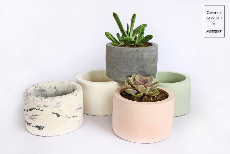 Concrete Cylindrical Pot #greenery #plants #succulents #concrete #greece