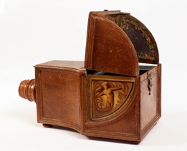 """Lovely 18th Century Camera Obscura of wood, glass, mirror. Museo Correr, Venice The camera obscura (Latin for """"dark room"""") is an optical device that creates an image by focusing rays of light onto a screen or sheet of paper."""