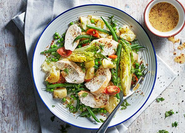 A warm hearty salad with a sharp and tangy mustard dressing that can also work cold in a lunchbox