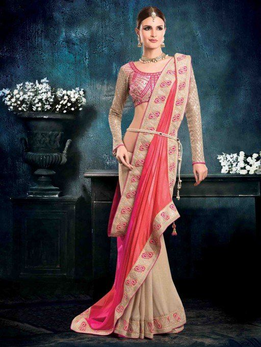 Pink and Beige Chiffon Saree with Lace Work