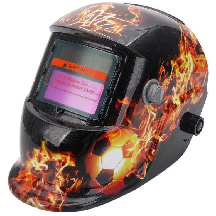 Solar Powered Auto Darkening Welding Helmet Football & Fire Pattern & Yellow