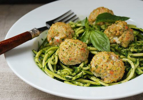 "Chicken Veggie Meatballs with Pesto Zucchini ""Noodles"" - zucchini, (leave out carrots), parsley, garlic cloves, blanched almond flour, egg, boneless skinless chicken breasts, sea salt, ground pepper, chili powder (optional), fresh spinach, fresh basil, minced garlic cloves, olive oil, Salt and pepper to taste, coconut oil - Strict Candida Diet"