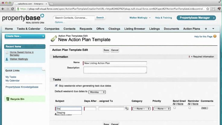 PropertyBase set up new listing action plan UX UI Pinterest - action plan templates
