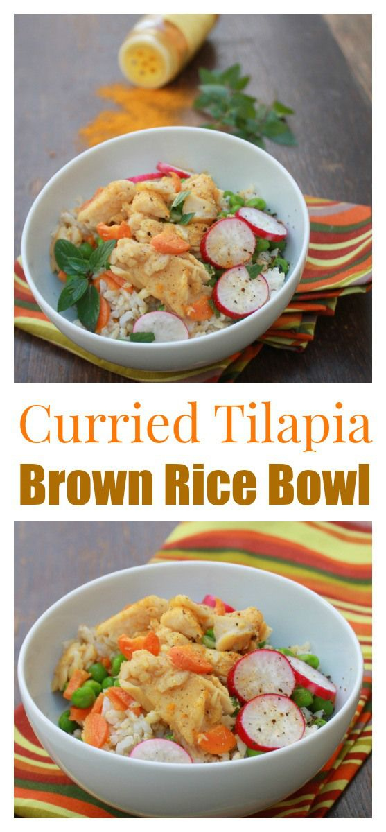 Spice up your rice bowl with Indian curry, mint and fresh veggies: Curried Tilapia Brown Rice Bowl | @TspCurry #AD