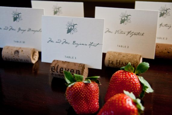 Vineyard Winery Grapes Place Cards | Seating Cards | Escort Cards | Napa Wedding | Wine Cork Place Card Holders | Danielle Seals Events | Custom Invitations Stationery