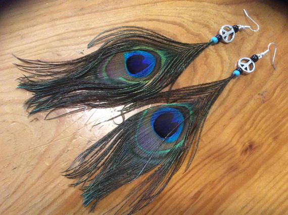 Peacock Feather Earrings Statement Jewelry Handmade Peacock