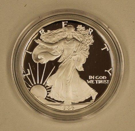 1986 1 oz Proof Silver Liberty Dollar / American Eagle    w/ Box & COA    .999 1 Troy Ounce Fine silver