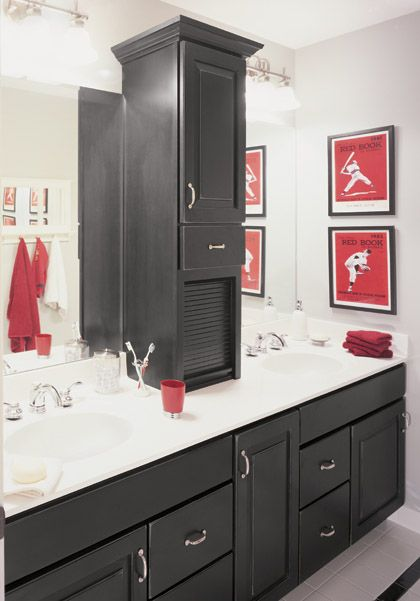 Top 25 ideas about black cabinets bathroom on pinterest for Bathroom cabinets ideas designs