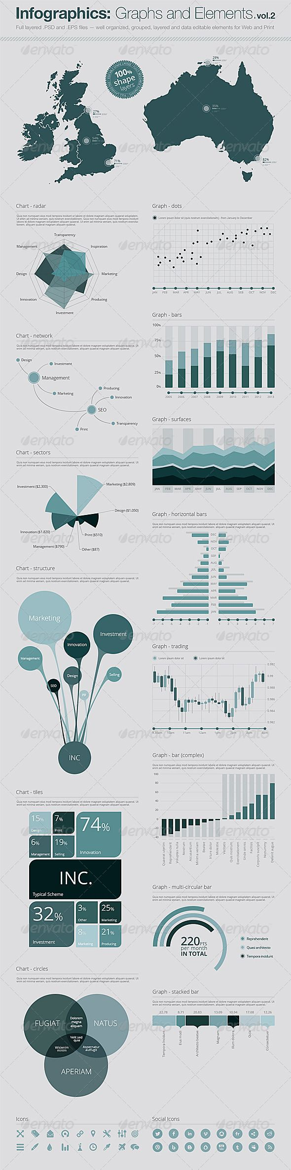 Infographics: Vector Graphs and Elements Vol.2 Everything is resizable! You can easily modify shapes and change colors as you like. It suits to website designs and printed materials with high resolution too. http://startupstacks.com/infographics/infographics-vector-graphs-elements-vol-2.html - free download