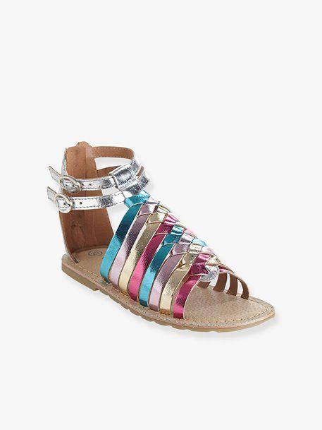 77cf0165491 Sandalias de piel para niña BLANCO CLARO LISO+Plateado multicolor+Rosa  fucsia+Rosa pálido metalizado