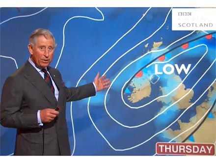 Prince Charles as a BBC Weatherman. Yes, please. Expand your weather forecast vocabulary & hear received pronunciation at its best