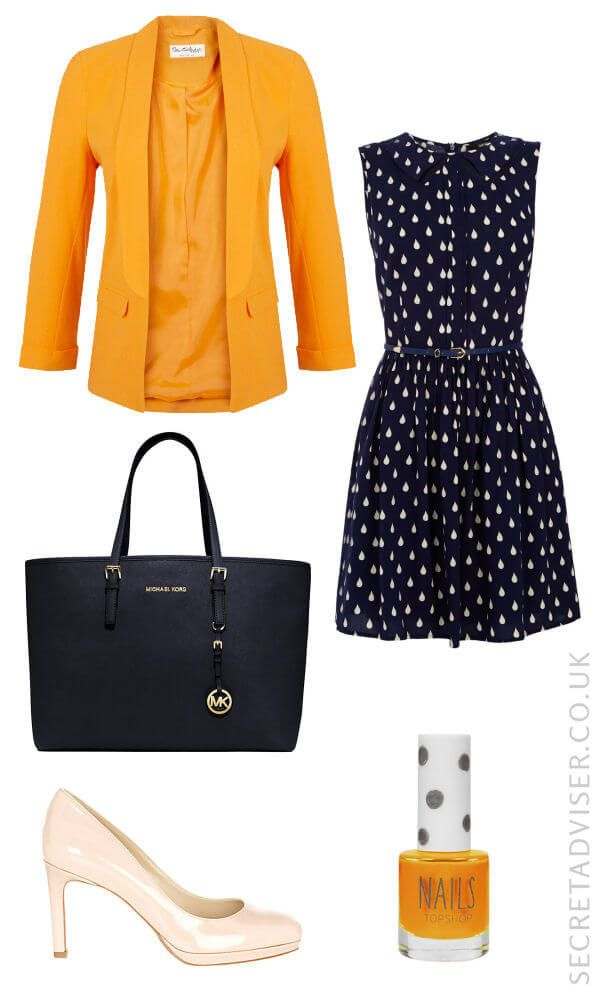 Navy dress with yellow accessories outfit idea