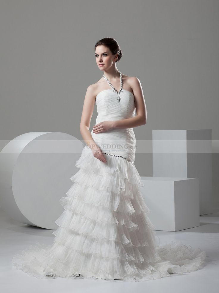 Halter Strapped Wedding Dress with Beaded Detail and Tier Skirt