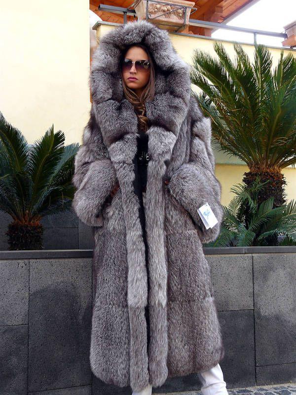 hooded full-length fox fur coat....Uploaded By www ...