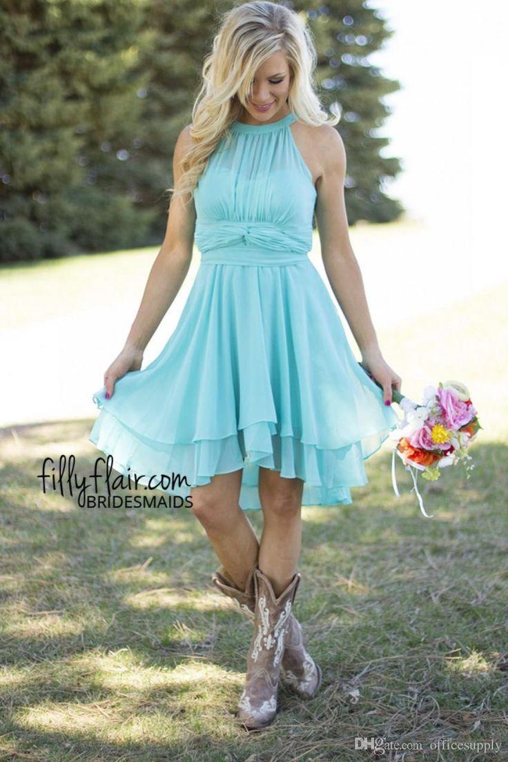 2016 Sexy Short Country Style Turquoise Bridesmaid Dresses Crew Neck Ruffled Chiffon Mini Dresses Beach Wedding Party Dresses