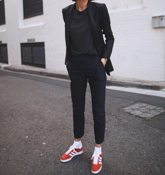 All black and red sneakers