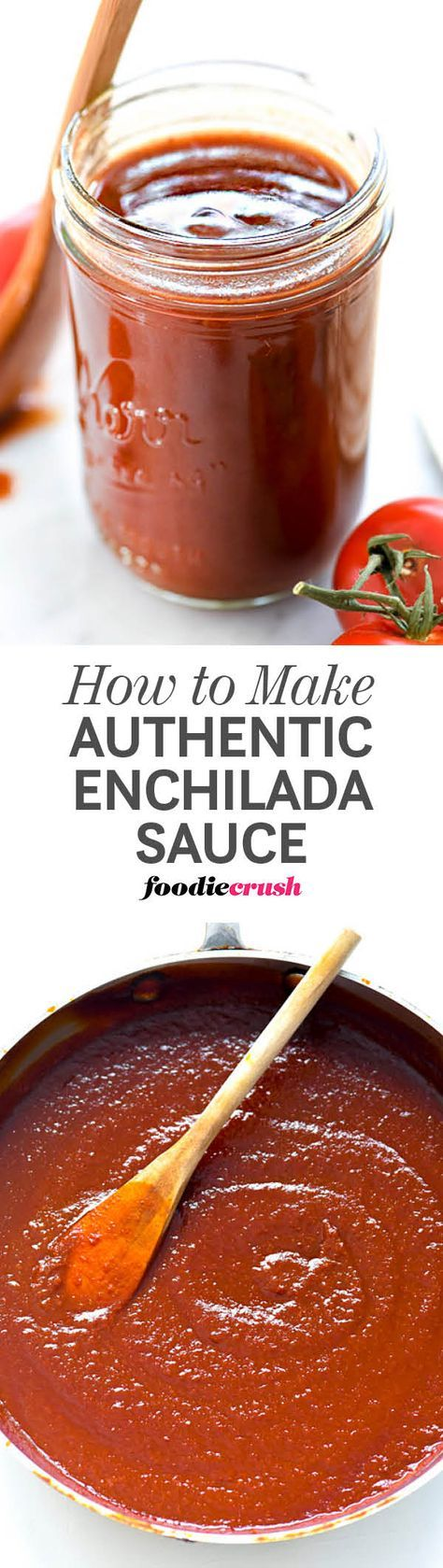 A mix of dried New Mexico and guajillo chiles plus Mexican spices create an authentic homemade red enchilada sauce for enchiladas, chilaquiles and more. | foodiecrush.com #enchilada #sauce
