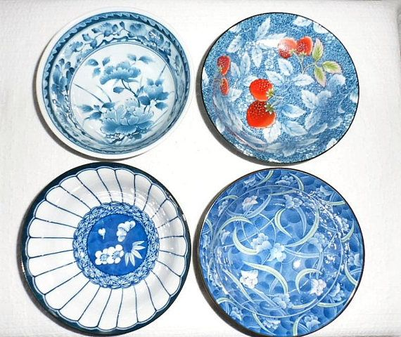 4 Vintage 1960's Assorted Noodle-Rice-Soup Bowls/Made in