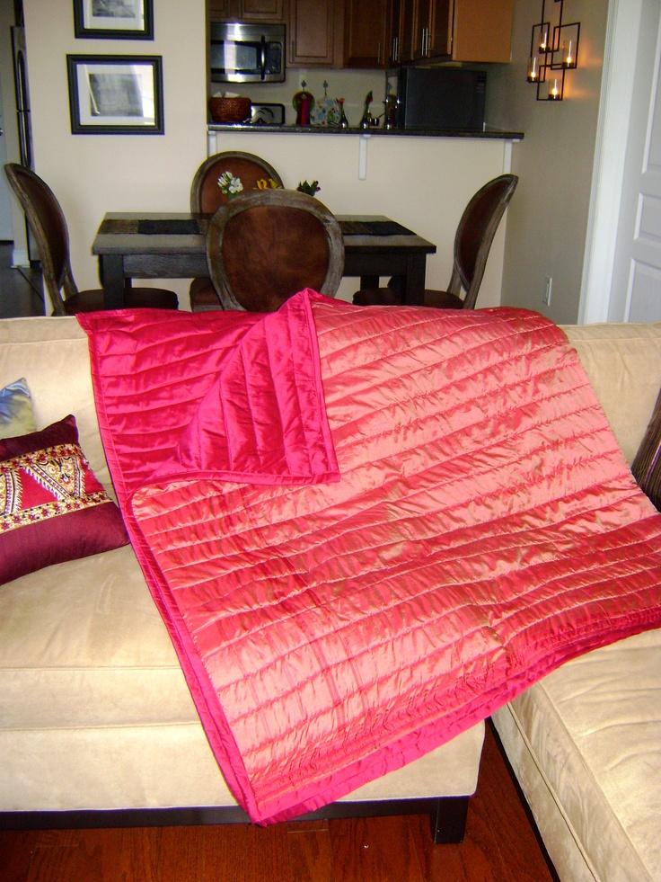 Strawberry Fields Sari Throw by Divine NY & Co. Vintage sari repurposed to create this stunning throw.