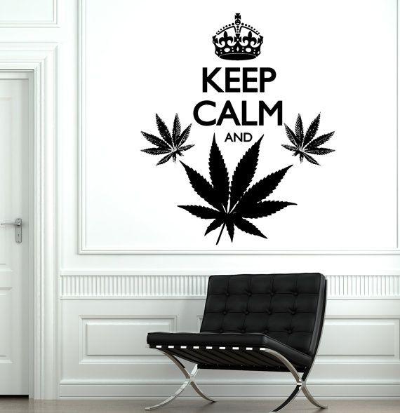 Wall Vinyl Words Funny  Marihuana Keep Calm And Smoke by BoldArtsy