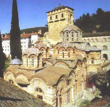 Monasterio de Chelandariou, uno de los del Monte Athos.