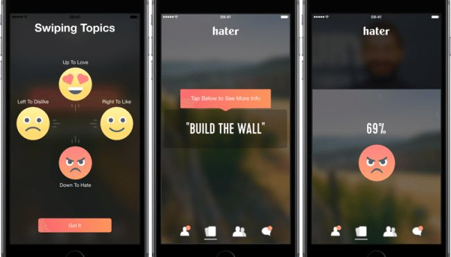 Hater, a unique mobile app for dating the like-minded people