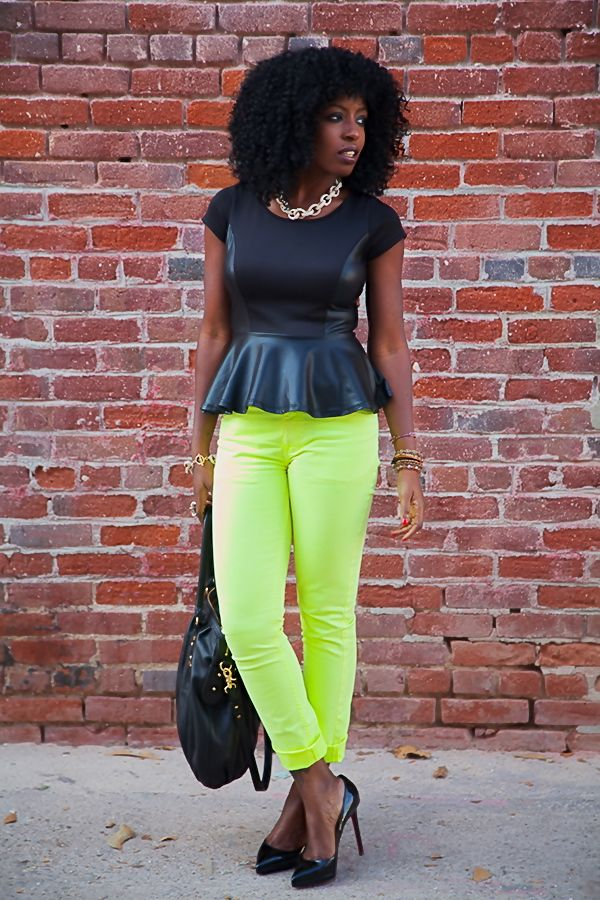 Style Pantry | Double Breasted Coat + Peplum Blouse + Neon Jeans