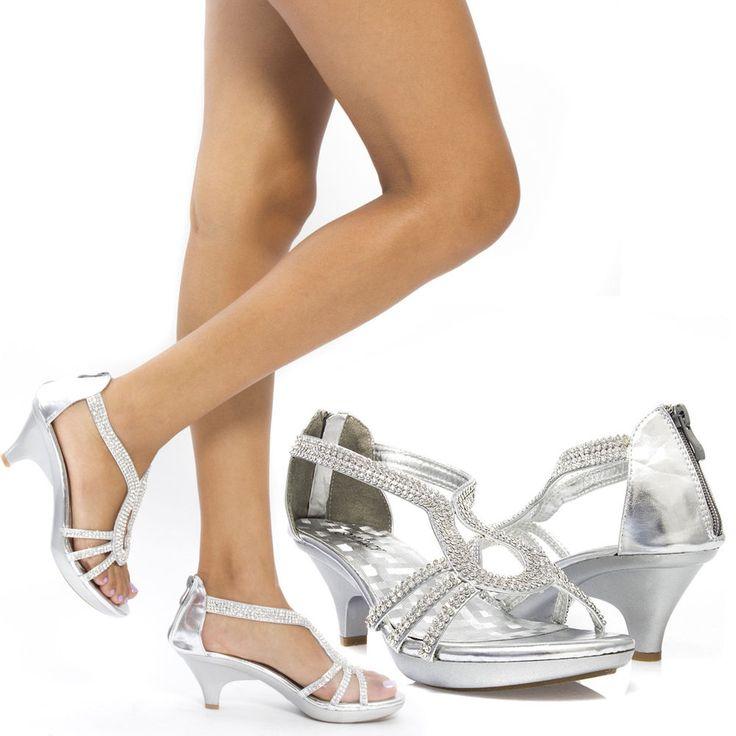 Women Silver Rhinestone Bridal Wedding Prom Evening Med Low Heel Sandal Shoe 9 #Delicacy #OpenToe