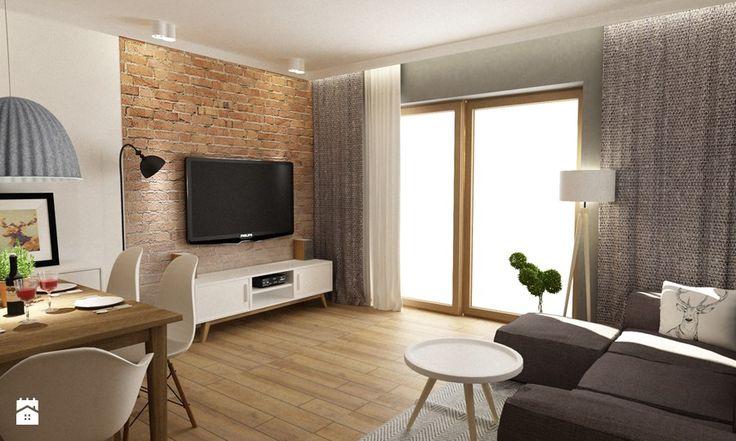 Dom Brwinów 200 m2 - Średni salon z jadalnią, styl nowoczesny - zdjęcie od Grafika i Projekt architektura wnętrz