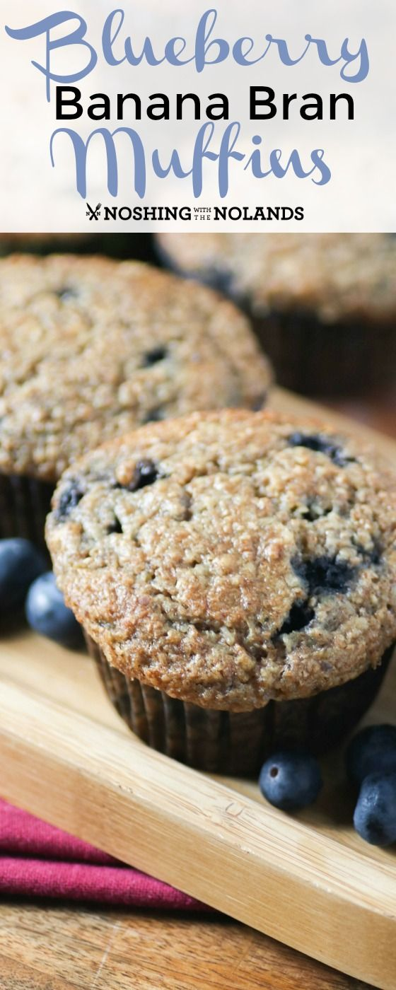 Blueberry Banana Bran Muffins by Noshing With The Nolands are chalked full of healthy ingredients!!