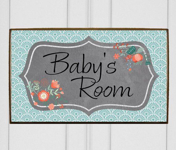 Door plaque  door sign  kids room sign  kids name plate  wooden wood name  plaque in floral  Personalized nursery sign with your baby s name. 17 best For Kids  images on Pinterest   Baby nursery decor  Door
